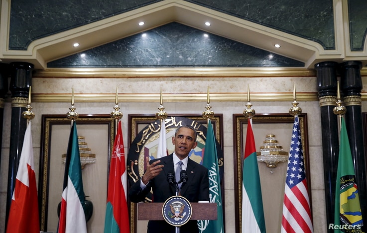 U.S. President Barack Obama speaks following his participation in the summit of the Gulf Cooperation Council (GCC) in Riyadh, Saudi Arabia, April 21, 2016.