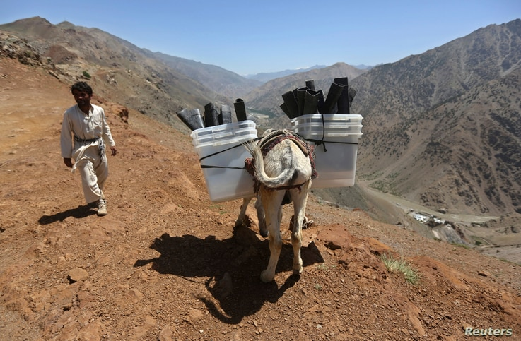 An Afghan man loads ballot boxes and other election material, to be transported to polling stations which are not accessible by road, on a donkey in Shutul, Panjshir province, June 13, 2014. The second round presidential election will be held on Satu...