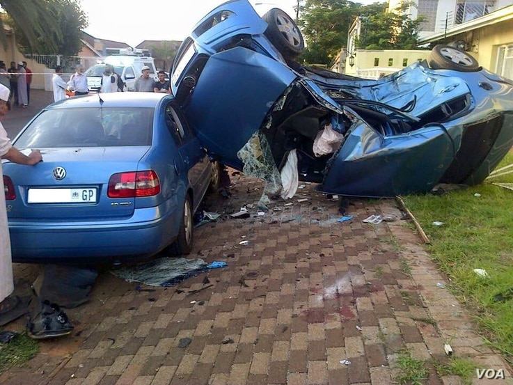 A high-speed collision in a South African suburb leaves wreckage. Many motorists don't stick to the 60 km an hour urban speed limit.