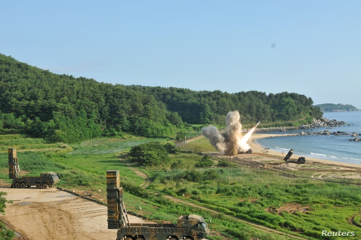 United States and South Korean troops utilize the Army Tactical Missile System (ATACMS) and the South Korea's Hyunmoo Missile II, fire missiles into the waters of the East Sea, off South Korea, July 5, 2017.
