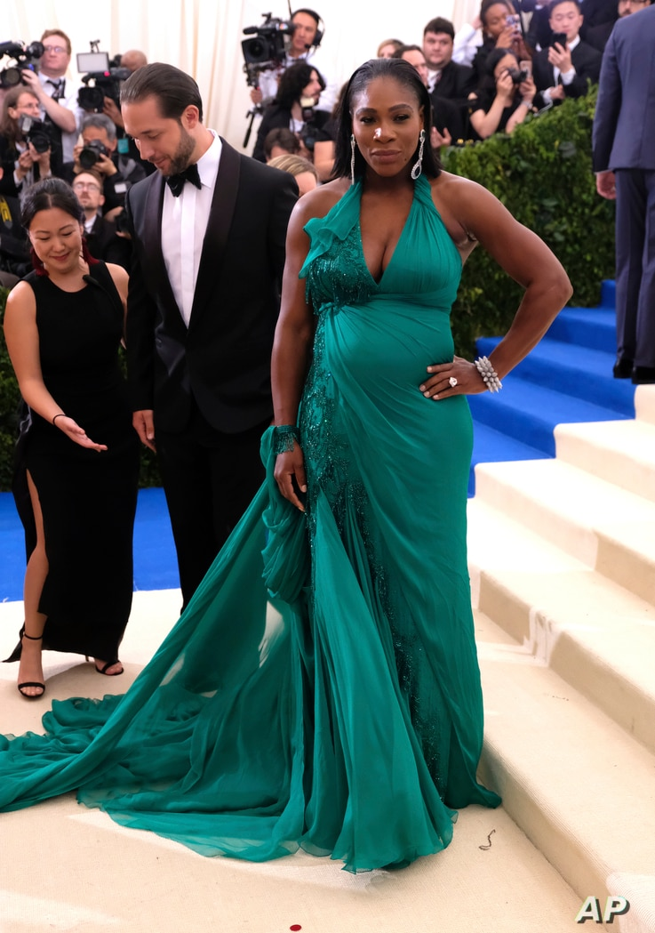 Serena Williams attends The Metropolitan Museum of Art's Costume Institute benefit gala celebrating the opening of the Rei Kawakubo/Comme des Garçons: Art of the In-Between exhibition on May 1, 2017, in New York.