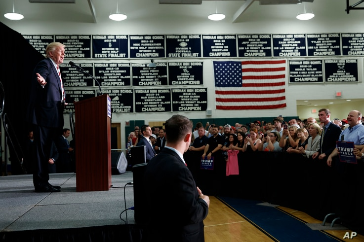 Republican presidential candidate Donald Trump speaks during a campaign rally at Windham (N.H.) High School, Aug. 6, 2016.