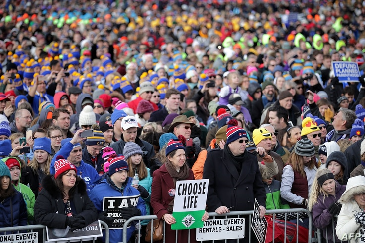 Thousands of people rally on the National Mall before the start of the 44th annual March for Life, Jan. 27, 2017 in Washington, D.C.