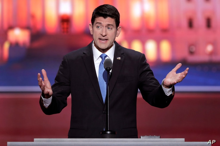 House Speaker Paul Ryan of Wisconsin addresses the Republican National Convention in Cleveland on July 19, 2016. (AP)