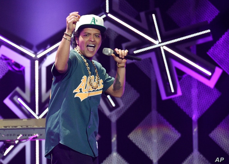 Bruno Mars performs at the 2016 Jingle Ball at Staples Center on Dec. 2, 2016, in Los Angeles.