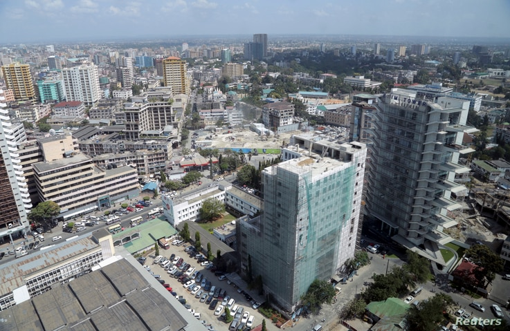 FILE - A general picture shows the skyline of Tanzania's port cty of Dar es Salaam, July 12, 2013.