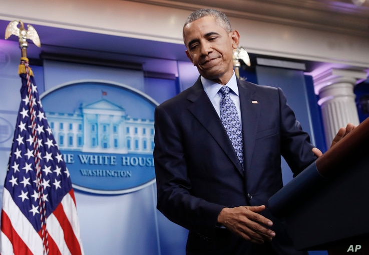 President Barack Obama turns from the podium at the conclusion of his final news conference, Jan. 18, 2017, in the Brady Press Briefing Room of the White House.