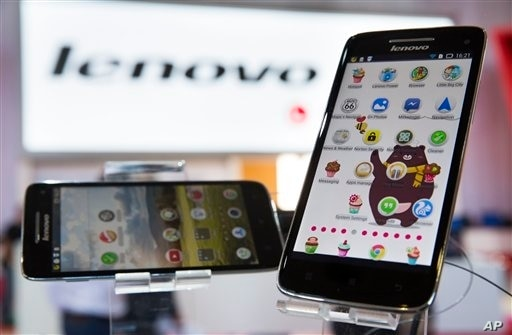 New Lenovo Vibe X smartphones displayed at IFA, one of the world's largest trade fairs for electronics and electrical appliances, Berlin, Sept. 5, 2013.