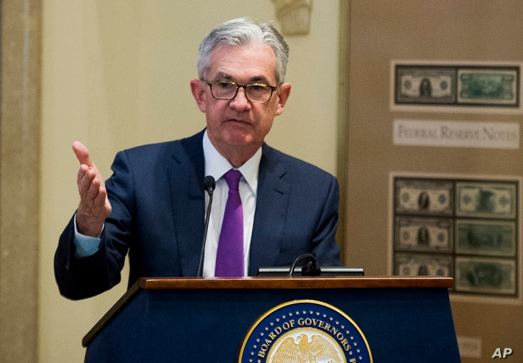 FILE - Federal Reserve Chairman Jerome Powell addresses the Federal Reserve Board's 15th annual College Fed Challenge Finals in Washington, Nov. 29, 2018.