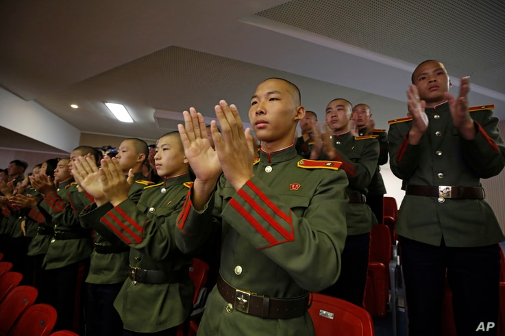 North Korean military cadets attend an evening gala held on the eve of the 70th anniversary of North Korea's founding day in Pyongyang, North Korea, Sept. 8, 2018.