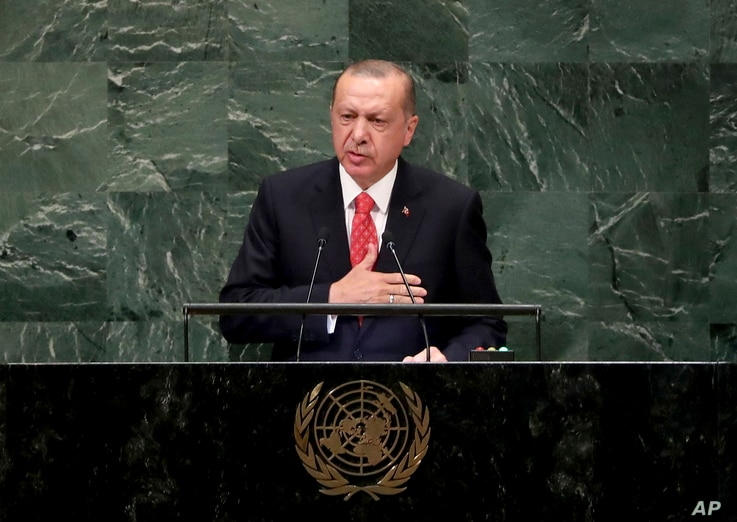 Turkey's President Recep Tayyip Erdogan addresses the 73rd session of the United Nations General Assembly, at U.N. headquarters,  Sept. 25, 2018.