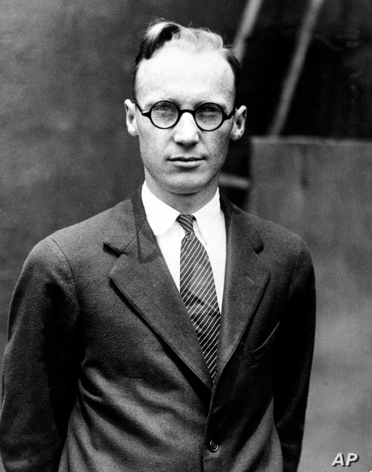 """Prof. John T. Scopes, a high school biology teacher charged with teaching evolution, is shown at the time of his trial that is dubbed the """"Monkey Trial"""" by the media in Dayton, Tenn., July 1925."""
