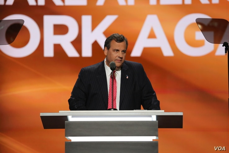 New Jersey Governor Chris Christie delivers a speech at the Republican National Convention in Cleveland, Ohio, July 19, 2016. (Photo: Ali Shaker / VOA )