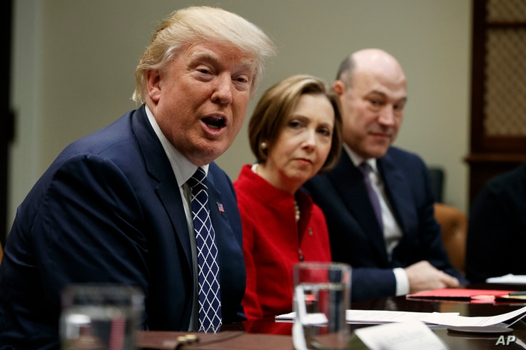 President Donald Trump, accompanied by Cape Cod Five Cents Savings Bank CEO Dorothy Savarese, center, and National Economic Council Director  Gary Cohn, speaks during a meeting with leaders from small community banks, Thursday, March 9, 2017, in the ...
