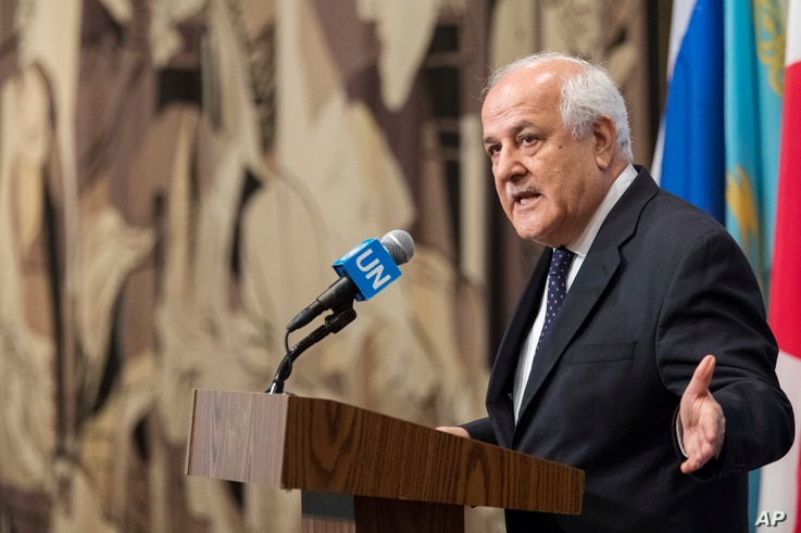 Palestinian Ambassador Riyad Mansour speaks to reporters about the situation in Israel outside the Security Council chambers, July 24, 2017, at U.N. headquarters.