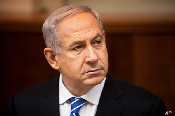 Israeli Prime Minister Benjamin Netanyahu attends the weekly cabinet meeting in his Jerusalem office,  March 10, 2013.