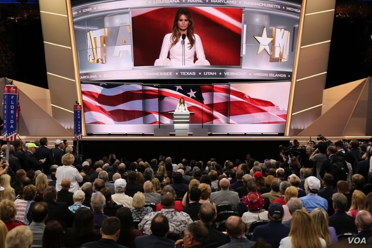 Melania Trump, wife of presumptive Republican presidential nominee Donald Trump, speaks to the Republican National Convention in Cleveland, July 18 2016.