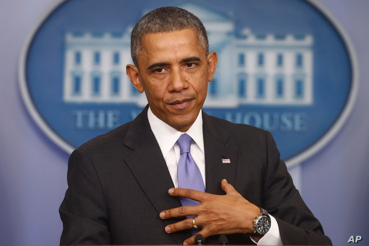 President Barack Obama speaks about his signature health care law, in the Brady Press Briefing Room of the White House in Washington, Nov. 14, 2013.