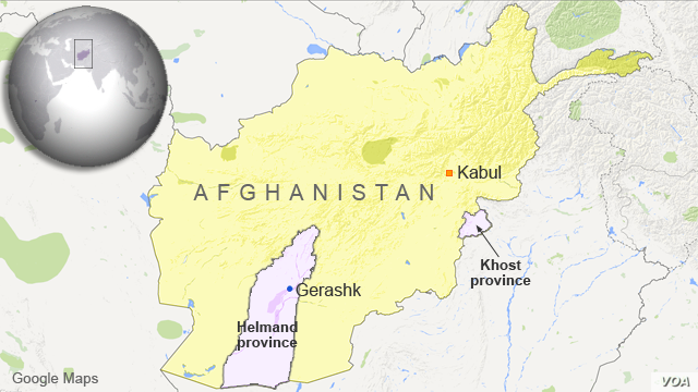 Khost province and Helmand province, Afghanistan