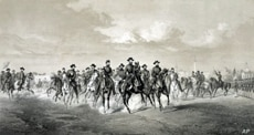 Union General William T. Sherman and his men are shown advancing on Savannah in this 1886 lithograph.