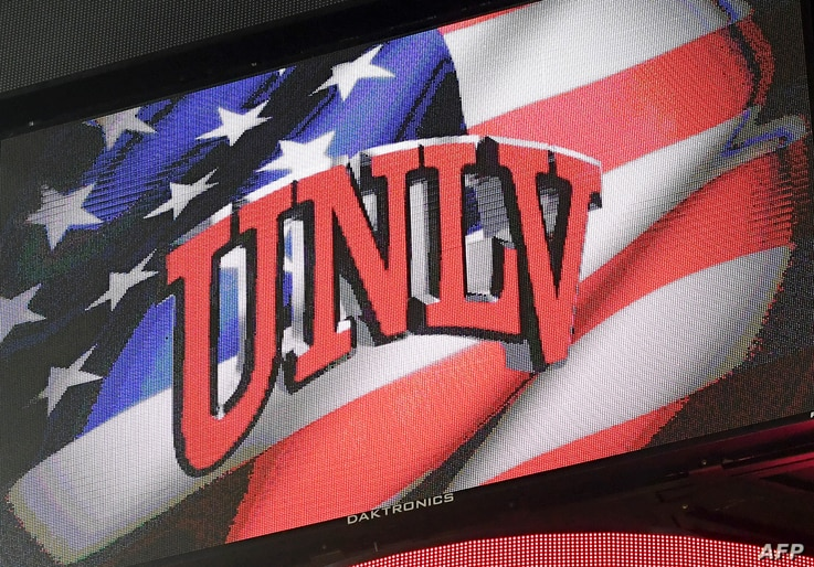 A University of Las Vegas-Nevada logo is displayed on a scoreboard during a basketball game at the Thomas & Mack Center in Las Vegas.