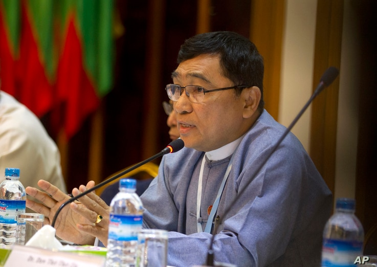 Win Myat Aye, Myanmar's social welfare minister, who is leading the repatriation process, talks to journalists during a press briefing, April. 19, 2018, in Yangon, Myanmar.