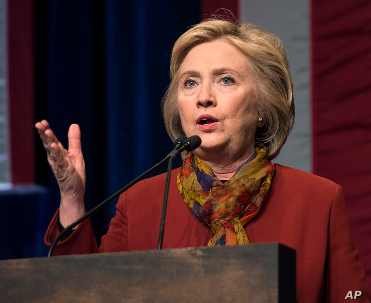FILE - Democratic presidential candidate Hillary Clinton speaks in New York, Feb. 16, 2016.