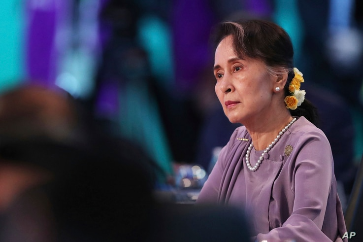 Myanmar leader Aung San Suu Kyi listens to the opening speech at the Leaders Plenary during ASEAN-Australia Special Summit, March 18, 2018, in Sydney. It is the first time Australia has hosted the summit with ASEAN leaders in Australia.