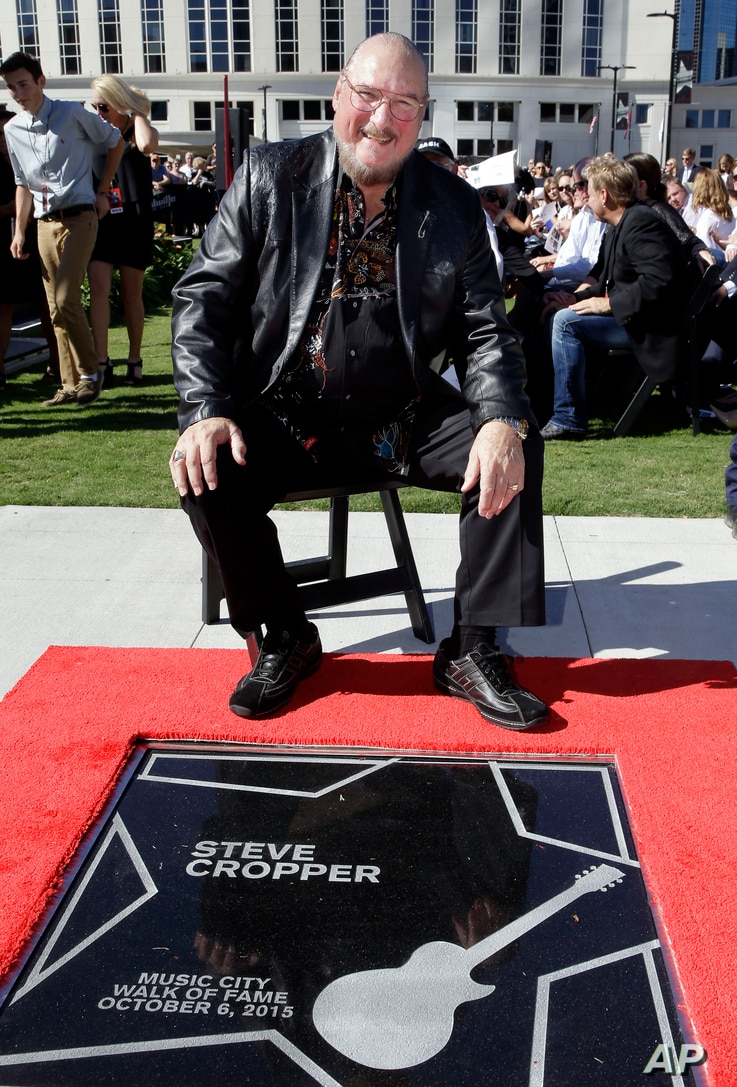 Famed guitar player and songwriter Steve Cropper is presented with his star on the Music City Walk of Fame, Oct. 6, 2015, in Nashville, Tennessee.