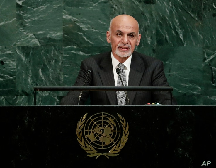 Afghanistan's President Ashraf Ghani Ahmadzai addresses the United Nations General Assembly at the United Nations headquarters, Sept. 19, 2017.