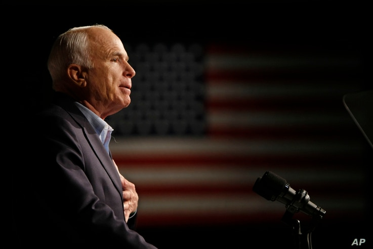 FILE - Republican presidential candidate Sen. John McCain, R-Ariz., speaks at a rally in Davenport, Iowa, Oct. 11, 2008.