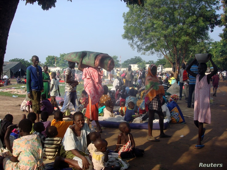 Displaced South Sudanese families are seen in a camp for internally displaced people in the United Nations Mission in South Sudan (UNMISS) compound in Tomping, Juba, South Sudan, July 11, 2016.