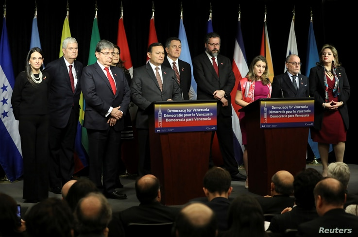 Canada's Foreign Minister Chrystia Freeland speaks during the closing news conference at the Lima Group meeting in Ottawa, Ontario, Canada, Feb. 4, 2019.