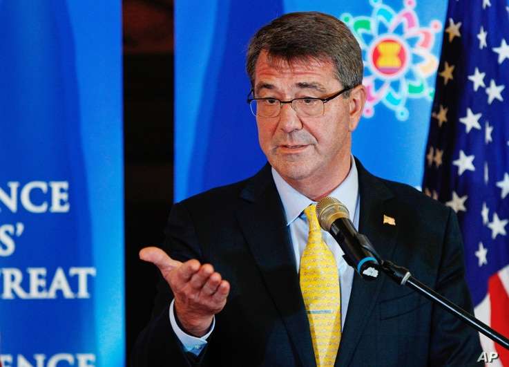 U.S. Defense Secretary Ash Carter gestures as he speaks during a press conference following the Association of Southeast Asian Nations (ASEAN) Defense Ministers' Meeting Plus in Kuala Lumpur, Malaysia, Nov. 4, 2015.