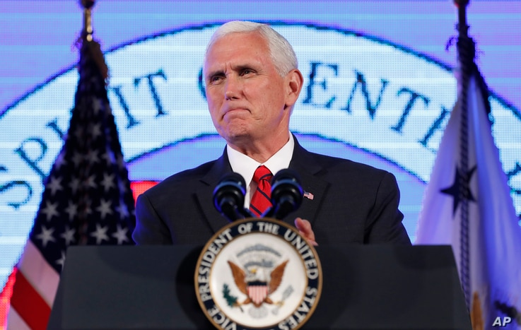 "Vice President Mike Pence pauses while speaking at the U.S. Chamber of Commerce during their ""Invest in America!"" Summit, Thursday, May 18, 2017, in Washington."