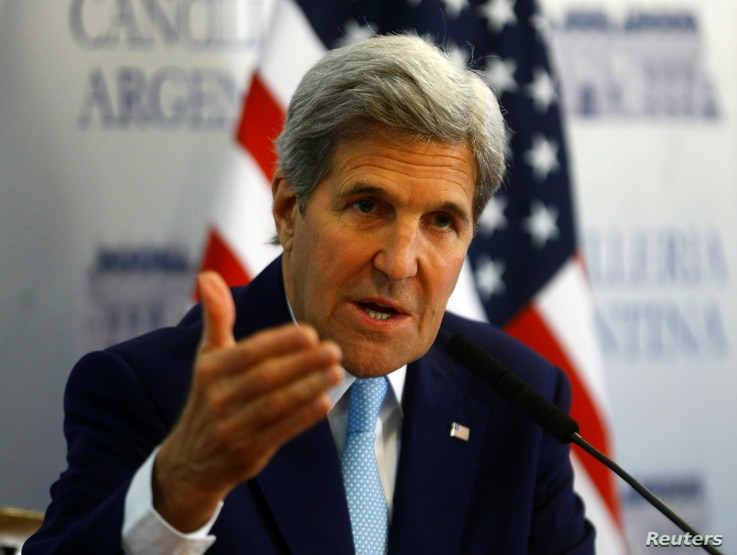 U.S. Secretary of State John Kerry attends a news conference in Buenos Aires, Argentina, Aug. 4, 2016.