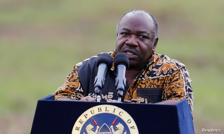 Gabon's President Ali Bongo addresses reporters at Nairobi National Park near Nairobi, Kenya, April 30, 2016.