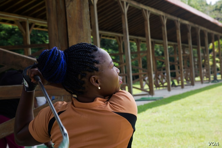 Stella Kadiri is one of Mbuko's students. She's been playing golf since 2011. She practices five days a week and hopes to become a pro. (Chika Oduah for VOA)