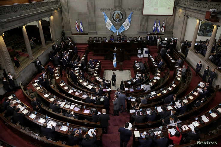 Congress members are seen at congress as they voted on Monday to preserve President Jimmy Morales's (not pictured) immunity from prosecution, in Guatemala City, Guatemala, Sept. 11, 2017.