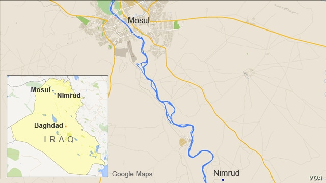 Map of Iraq showing Mosul and Nimrud