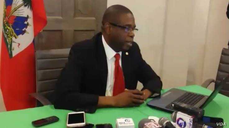 Haitian Senate Leader Carl Murat Cantave holds a midday press conference in Port-au-Prince, Haiti, Feb. 14, 2019.