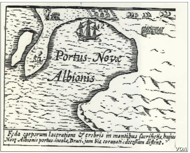 "This is Drake's own map, with words in Latin, of the cove where he landed.  He even named it ""New Albion"" in honor of his country, far away. (National Park Service)"