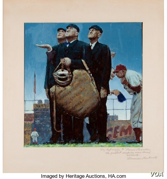 "1948 Original Study for ""Tough Call"" by Norman Rockwell"