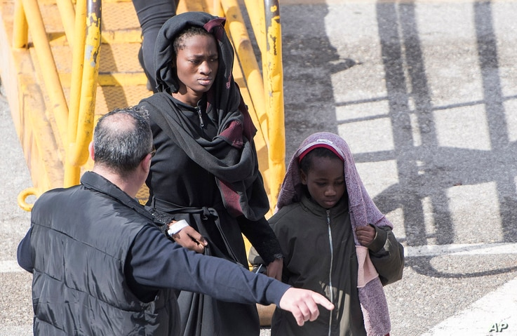 Migrants are disembarked from the Turkish oil tanker El Hiblu 1, which was hijacked by migrants, in Valletta, Malta, March 28, 2019.