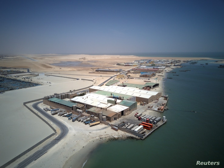 An aerial view of fishmeal production plants in Nouadhibou, Mauritania, April 14, 2018.