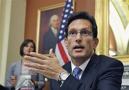 House Majority Leader Eric Cantor of Virginia speaks with reporters about jobs, as Congress waits for President Barack Obama to submit the jobs plan, in his Capitol Hill office in Washington, D.C., September 12, 2011. (AP)