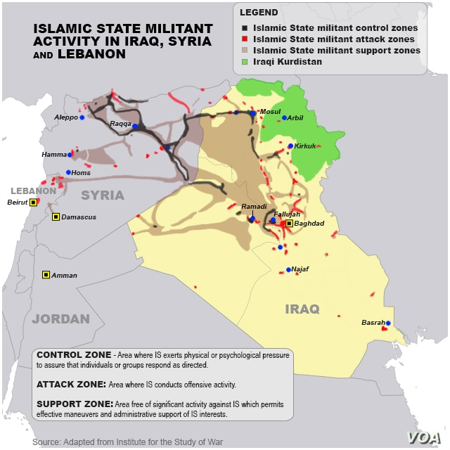 Islamic State militant areas of control, updated May 18, 2015