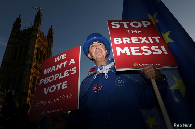 An anti-Brexit demonstrator hold placards opposite the Houses of Parliament, in London, Britain, Nov. 13, 2018.
