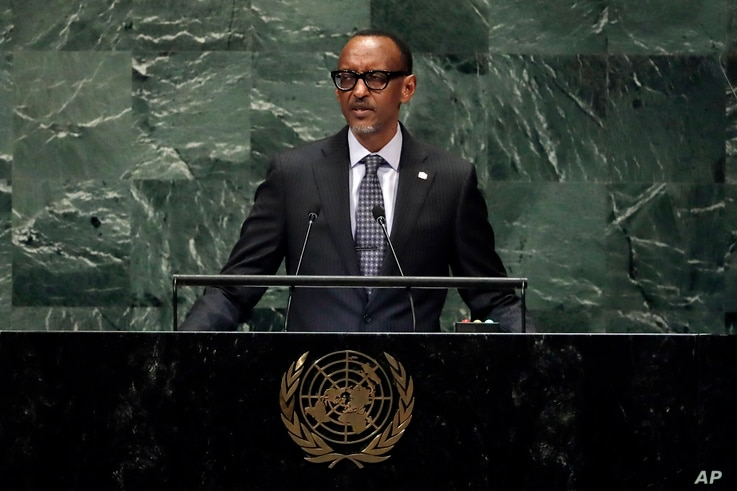 Rwanda's President Paul Kagame addresses the 73rd session of the United Nations General Assembly, at U.N. headquarters,  Sept. 25, 2018.
