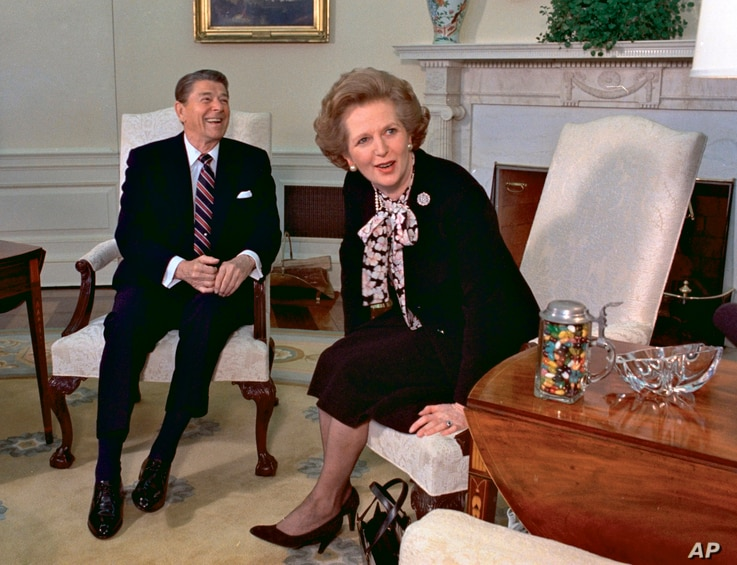Then British Prime Minister Margaret Thatcher meets with President Ronald Reagan during a visit to the White House, Feb. 20, 1985
